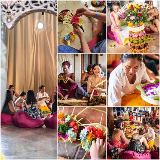 Learn to make Canang Sari Flower Offerings at Gaia Retreat Center Bali